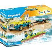 Playmobil Family Fun Αυτοκίνητο Mε Aνοιχτή Oροφή Kαι Kανό 70436