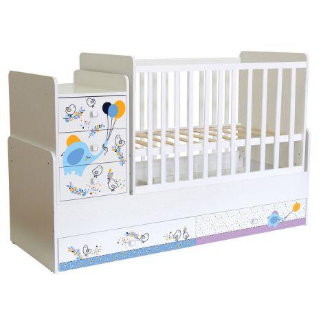 Πολυμορφικό κρεβάτι Polini Kids, Simple 1100 σε άσπρο/μπλε
